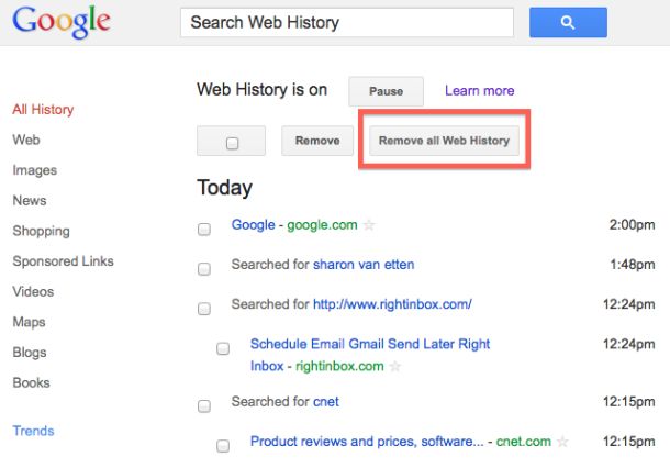 how to delete recent history in google maps